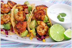 Shrimp Tacos with Cilantro Lime Cream Grilled Shrimp Seasoning, Creamed Cucumbers, Lime Cream, Mexican Food Recipes, Ethnic Recipes, Shrimp Recipes, Create A Recipe, Shrimp Tacos, Heart Healthy Recipes