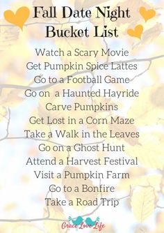 This Fall Date Night Bucket list is perfect for couples and families. Click through the link to print this for free!