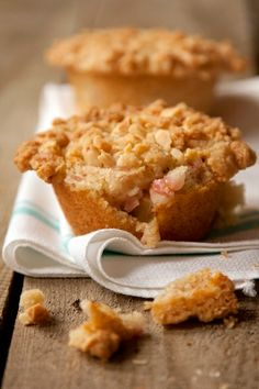 Rhubarb Muffins with Almond Streusel.