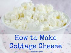 Homemade cottage cheese only has 3 simple ingredients: organic milk, vinegar or lemon juice, and a sprinkle of salt if desired. It couldn't be easier! Recipe saved from The Organic Prepper. Homemade Cottage Cheese, Cottage Cheese Recipes, Homemade Cheese, Lactose Free Cottage Cheese, Homemade Sour Cream, Milk Recipes, Clean Recipes, Cooking Recipes, Dairy Recipes