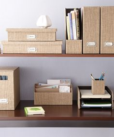 Coordinate boxes, mail holders and all your workspace stuff so it can serve a dual purpose...storage and decoration....