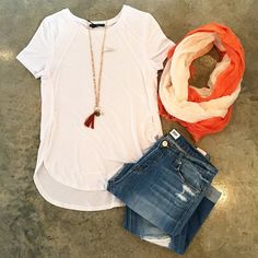 Just in! @tartcollections Liane Top in White $57, XS-L! Seen with @hudsonjeans Leigh Boyfriend $235, @lamadeclothing Ombré Scarf $15, Haven Necklace $20! #newarrivals #spring #tart #style #ootd #boyfriendjeans #style #lkn