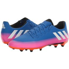 adidas Messi 16.3 FG (Blue/Footwear White/Solar Orange) Men's Cleated... ($80) ❤ liked on Polyvore featuring men's fashion, men's shoes, men's sneakers, adidas mens sneakers, mens white shoes, mens blue shoes, mens blue sneakers and mens lace up shoes