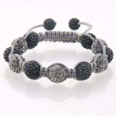 Black and grey bead Shamballa on grey cord with black crystal end beads.