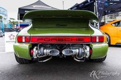 Porsche with twin turbos exposed