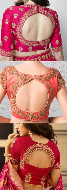 Some really amazing blouse backs for brides to choose from! Book your wedding now with BookEventZ Some really amazing blouse backs for brides to choose from! Book your wedding now with BookEventZ Blouse Back Neck Designs, Simple Blouse Designs, Stylish Blouse Design, Fancy Blouse Designs, Bridal Blouse Designs, Latest Blouse Designs, Choli Blouse Design, Blouse Simple, Blouse Designs Catalogue