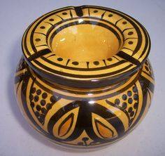 """Yellow Safi Ashtray - $18.99 Uniquely decorated and useful ashtray. The removable top piece allows the ashes go down without a mess. Perfect Gift for cigar smokers! You will love them, they are some of our most popular items. Small:  3"""" inches wide by 3.5"""" inches high Medium:  4.5"""" inches wide 4"""" inches high https://treasuresofmorocco.com/shop/?slug=product_info.php&products_id=123"""