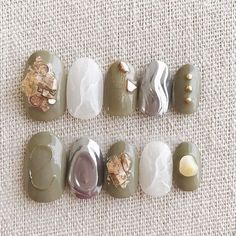 ネイル ネイル in 2020 Cute Nails, Pretty Nails, Japan Nail, Studded Nails, Japanese Nail Art, Nail Art Rhinestones, Minimalist Nails, Marble Nails, Fall Nail Designs