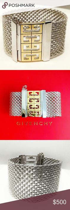 Givenchy Couture Wide Mesh Bracelet Givenchy Couture Wide Silver & Gold Mesh Bracelet. New without tags. Crafted in Italy, with a secure push-lock bar closure. More information to follow. Givenchy Jewelry Bracelets