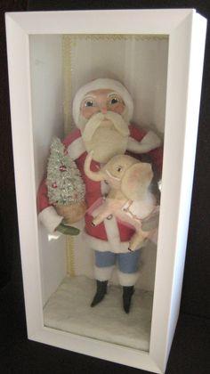 "Spun Cotton Santa & Elephant Shadow Box by Maria Pahls 11"""