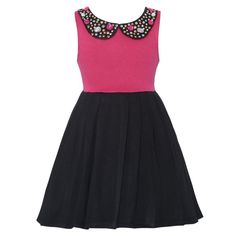This adorable dress by RMLA will give your girl a modern allure and will bring out a sporty touch. Stretch ponte dress features a fuchsia sleeveless bodice with a jeweled collar and a pleated black skirt. This trendy style will work day and night, just ad