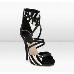 Jimmy Choo Jet 120mm Black/White Zebra Print Vachetta Leather Platform Sandals Shoes