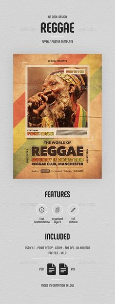 Reggae Flyer/Poster #club #vintage Download : https://graphicriver.net/item/reggae-flyerposter/10782153?ref=pxcr
