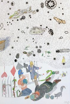 Detail of Shuvinai Ashoona and John Noestheden, Untitled Collaboration (detail), pencil crayon and India ink on paper, x cm, RBC Art Collection. Inuit Art, Saatchi Gallery, Galleries In London, Canadian Art, India Ink, Detailed Drawings, Beautiful Sunrise, Ancient Symbols, Art World