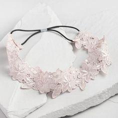 Light Gray Floral Lace Headband - v1