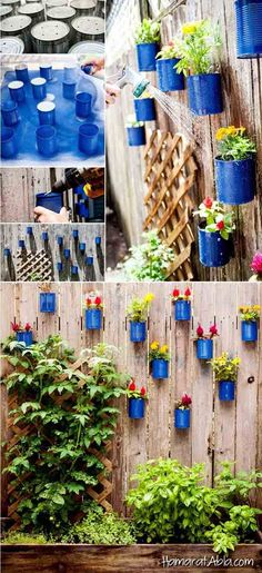 Easy and Cheap DIY Garden Pots You Never Thought Of Spring is here, why don't you go outside and make something beautiful for your garden. Make unique DIY garden pots for your plants and flowers is a great way to spice up your garden. Garden Fence Art, Wooden Garden Planters, Diy Garden Decor, Garden Pots Ideas Diy, Garden Ideas Diy Cheap, Outdoor Garden Decor, Diy Fence, Planter Ideas, Garden Decorations