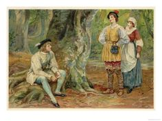 """In this painting, Orlando closely resembles the melancholic men laying on the forest ground that we discussed. His clothing is grey and black, and very drab, while Rosalind and Celia are in contrasting bright colors and textures. His tree poetry mirrors the small poetry books the men often had to show their sadness. Although Rosalind's rosy cheeks may give her away, her loose clothing and hat to cover her head hide her womanhood fairly well. Artist: Mary Evans, """"As You Like It"""" -Kim Isaacs"""