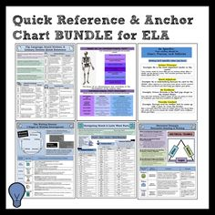 MASSIVE Bundle of 15 Anchor Charts and Quick References for Middle School ELA #anchorchart #bundle #ELA #studyguide #endofyear #summer #CCSS #infotext #evidence