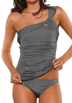 Crazycatz@Women Irregular One Shoulder Ruched Two Piece Swimwear Tankini Sets: Amazon.ca: Clothing & Accessories