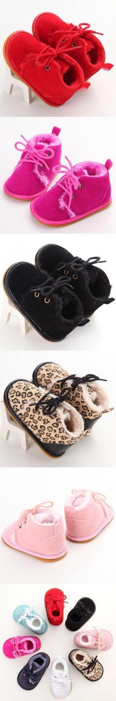 0-18M Winter Baby Shoes Newborn Boy Girl Lace-up Shoes Pre-walker Infant Warm Villus Shoes $5.43