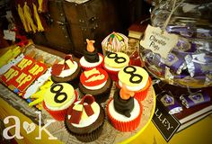 Cool cupcakes at a Harry Potter party!  See more party ideas at CatchMyParty.com!  #harrypotter #partyideas
