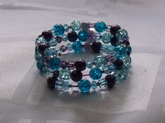 Blue and purple memory wire bracelet