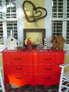 Red dresser on the porch (from Dear Daisy Cottage)