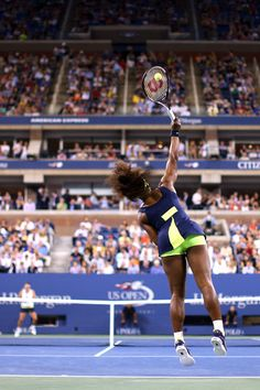 360 degree STYLE:   Serena Williams serves the ball v Coco Vandeweghe during their women's singles first round match on Day Two of the 2012 US Open~August 28, 2012.