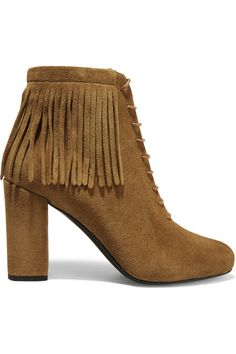 Heel measures approximately 90mm/ 3.5 inches Tan suede Lace-up front Made in Italy As seen in THE EDIT magazine