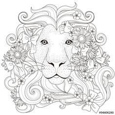 Vektor: lovely lion coloring page