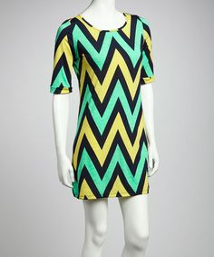 Take a look at this Yellow & Turquoise Zigzag Short-Sleeve Dress by Point Fashion on #zulily today!