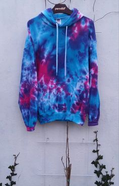 Galaxy Tie Dye Hoodie bright colors blue pink by SpacyShirts