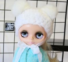 """Blythe Fifth Avenue - MINK BEARY Hat in """"BLYTHE White Beary"""" with White faux fur bear ears"""