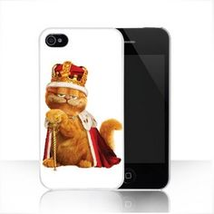 White CROWN Garfield hard case cover for Apple iphone 4 4s - $15.00 : freegiftbox!, online shopping for electronics,iphone ipad accessories, comsumer electronics and accessories, game accessories and fashion apperal