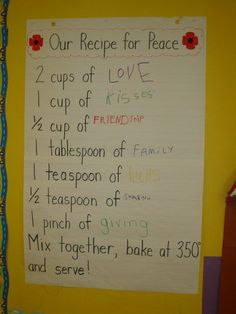"Remembrance Day ""recipe for peace"". Perfect to fit in with procedural text unit"