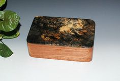 Handmade Wood Stash Box Desk Box Jewelry Box in Mahogany with Buckeye Burl by BurlWoodBox - Handmade Wood Boxes - Gift Box Wooden Box by BurlWoodBox Tung Oil Finish, Buckeye Burl, Barrel Hinges, Wood Boxes, Jewelry Box, Desk, Handmade, Gifts, Jewellery Box