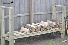 "homeroad: DIY Log Holder, using pressure treated boards: get Two 8 foot 4x4's, Three 8 foot 2x4's, Two 10 foot 1x6's, and 3"" decking screws."