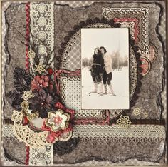 Monsie and Keenie ~ Dramatic heritage page with gorgeous lacy ribbon trims.