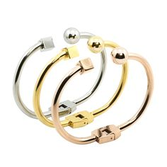 Find More Cuff Bracelets Information about  New Indian Fashion Gold Plated Square Round Stainless steel Open Bracelet Bangle Cuff for Women Simple Trend Female Jewelry,High Quality bracelet fashion,China fashion bracelet Suppliers, Cheap cuff bracelet bangle from JINHUI on Aliexpress.com