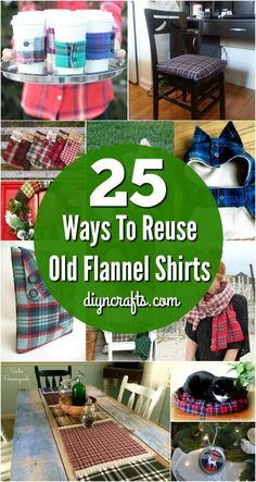 25 Creative Ways To Reuse and Repurpose Old Flannel Shirts - Easy tutorials that., 25 Creative Ways To Reuse and Repurpose Old Flannel Shirts - Easy tutorials that guide you trough shirt upcycling! Try one of these easy diy projects . Upcycled Crafts, Repurposed Items, Old Shirts, Flannel Shirts, Plaid Flannel, Crafts To Sell, Diy And Crafts, Creative Crafts, Adult Crafts