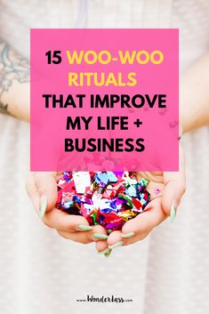"I'm FINALLY sharing all my woo-woo rituals with you, whoop! I started digging myself deep into this so called ""woo-woo rabbit hole"" back in 2017 and It's changed my life so dramatically that I just can't hold back any longer.  Get ready because this really WILL change your life + business for the better!"