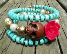 Day of the Dead Wrap Around Bracelet Frida brown skull red flower pearls ooak  #donnaelizabethdesign #Beaded