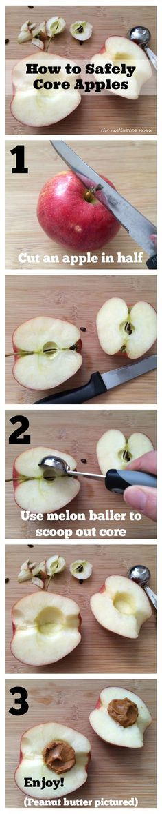 Use this simple technique to quickly and safely core apples with a melon baller!  www.facebook.com/missywiechmannthemotivatedmom