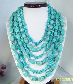 Turquoise necklace Multi Strand Necklace With Turquoise Coral. $32.50, via Etsy.