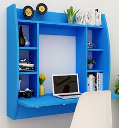 Multi-function computer desk shelf on the wall Bookcase Desk, Desk Shelves, Shelf Design, Cabinet Design, Bedroom Study Area, Floating Wall Desk, Tv Unit Furniture, Vito, House Inside