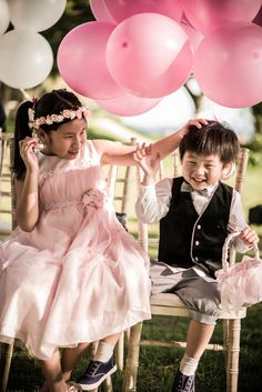 Flower girl with a floral crown | Pink and White Wedding at Shangri-La's Rasa Sentosa Resort: Tris and Jacqueline