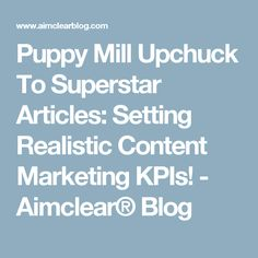 Puppy Mill Upchuck To Superstar Articles: Setting Realistic Content Marketing KPIs! - Aimclear® Blog