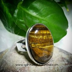 Tigers Eye Adjustable Crystal Ring