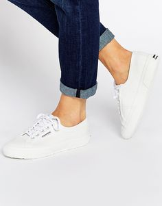 Superga White Leather Plimsoll Trainers