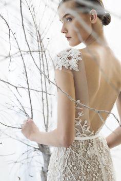 Deep Back Illusion and Lace Wedding Dress | http://heyweddinglady.com/mira-zwillinger-wedding-dress-collection-spring-2017/